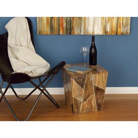 Decmode Modern 17 x 15 inch brown mango wood geometric-designed rectangular side table, Brown ()