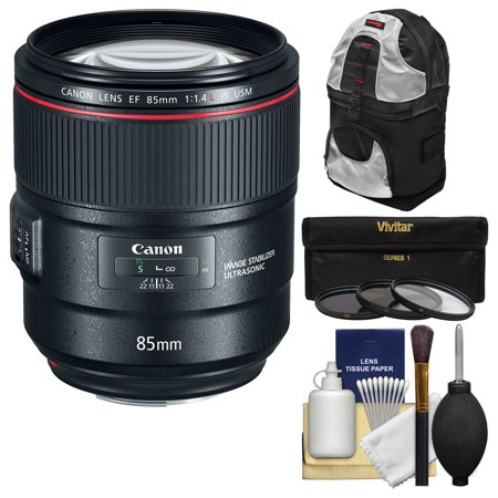 Canon EF 85mm f/1.4L IS USM Lens with 3 UV/CPL/ND8 Filters + Backpack + (Canon Zoom Lens Ef S 17 85mm)