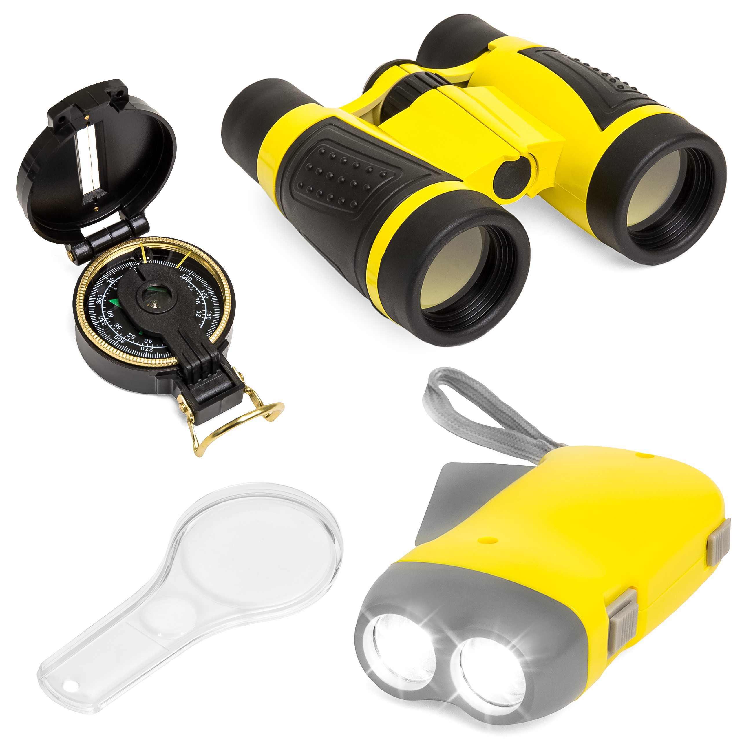 Best Choice Products Junior Explorer Set w  Binoculars, Flashlight, Compass, Magnifying Glass (Yellow) by