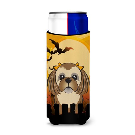 Halloween Chocolate Brown Shih Tzu Ultra Beverage Insulators for slim cans BB1807MUK