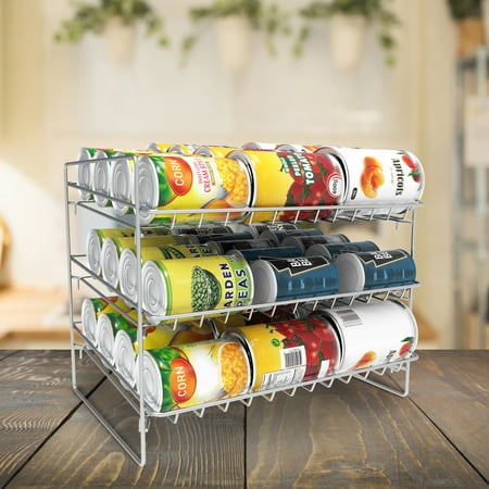 3-Tier Can Dispenser-Organizer Holds 36 Standard Jars, Food or Soda Cans by Lavish (Chrome Jars)