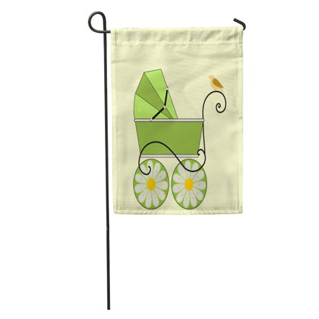 SIDONKU Baby Carriage Gender Neutral Colors Sweet Bird Patterned Wing Garden Flag Decorative Flag House Banner 12x18 inch - Gender Neutral Colors