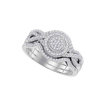 1/3 Ct Tw Ring - 10kt White Gold Womens Round Diamond Cluster 3-Piece Bridal Wedding Engagement Ring Band Set 1/3 Cttw
