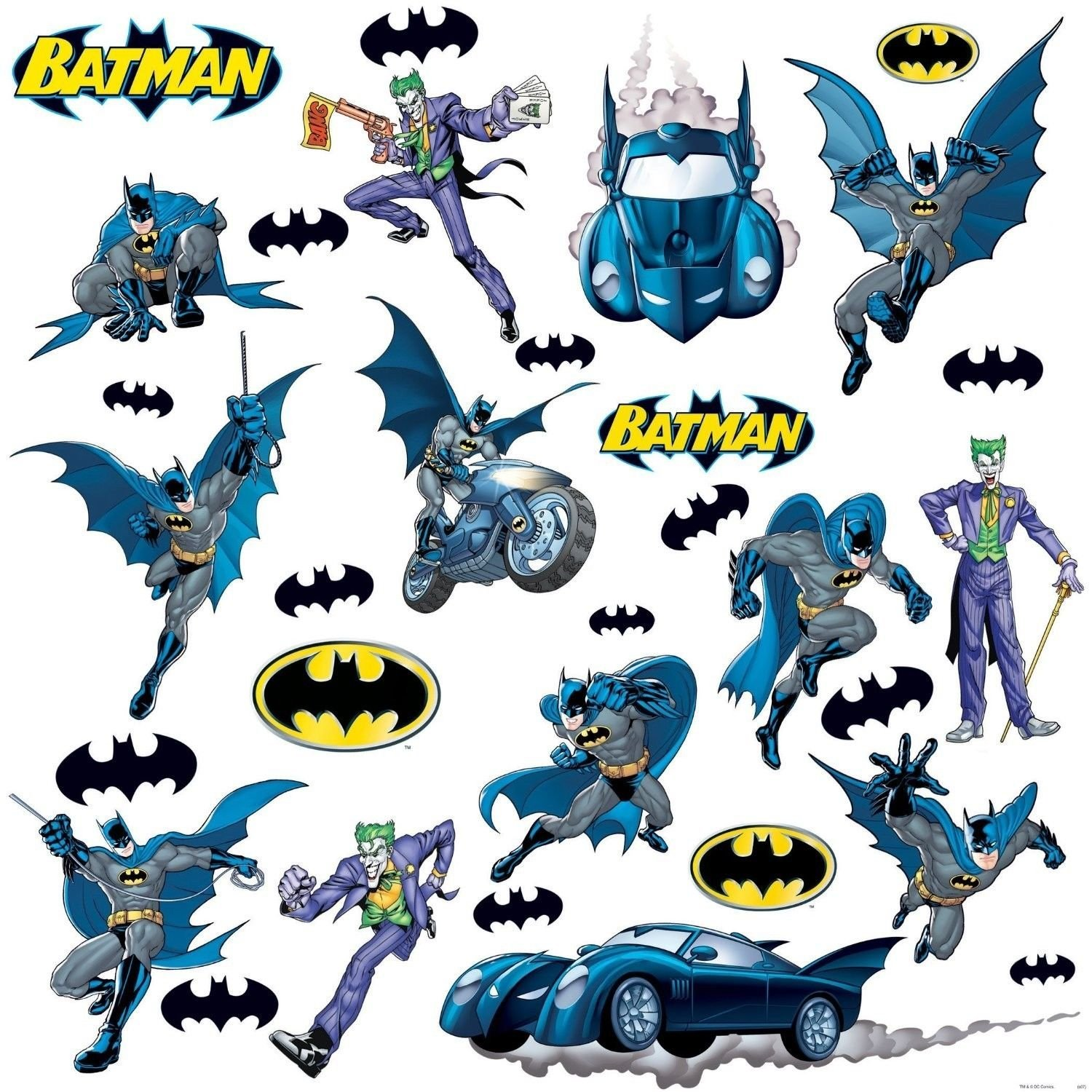Batman Gotham 31 Big Removable Vinyl Wall Decals Batmobile Room Decor Stickers By RoomMates