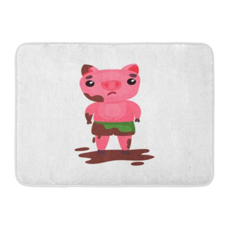 GODPOK Boy Pink Adorable Cute Sad Pig Character Standing in Puddle of Mud Funny Cartoon Piggy Animal Baby Rug Doormat Bath Mat 23.6x15.7 inch ()