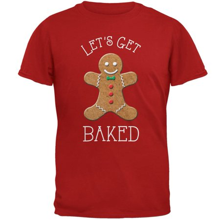 Christmas Gingerbread Man Let's Get Baked Red Adult T-Shirt