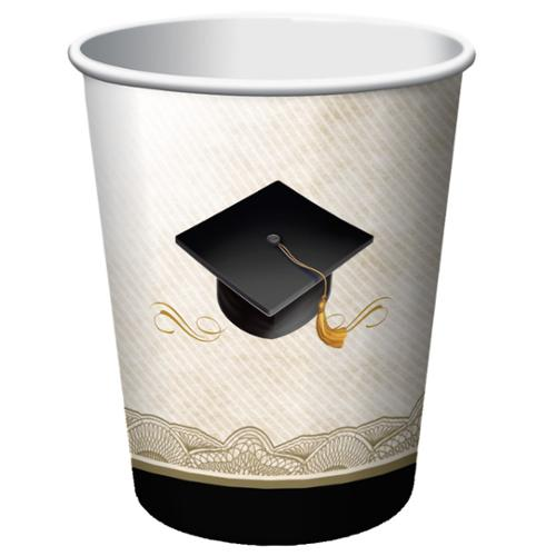 Club Pack of 96 Graduation Cap and Gown Disposable Paper Hot and Cold Drinking Party Cups 9 oz.