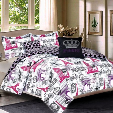 Bedding Full 5 Piece Girls Comforter Bed Set, Paris Eiffel Tower ...