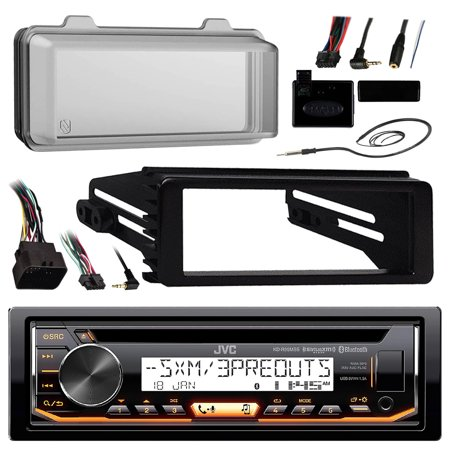 JVC KDR99MBS Marine Radio Stereo Receiver For 1998-2013 Harley Davidson Touring Flht Flhx Flhtc Bundle With Metra Adapter Dash Kit + Weathershield Cover + Handle Bar Control + Enrock Wire