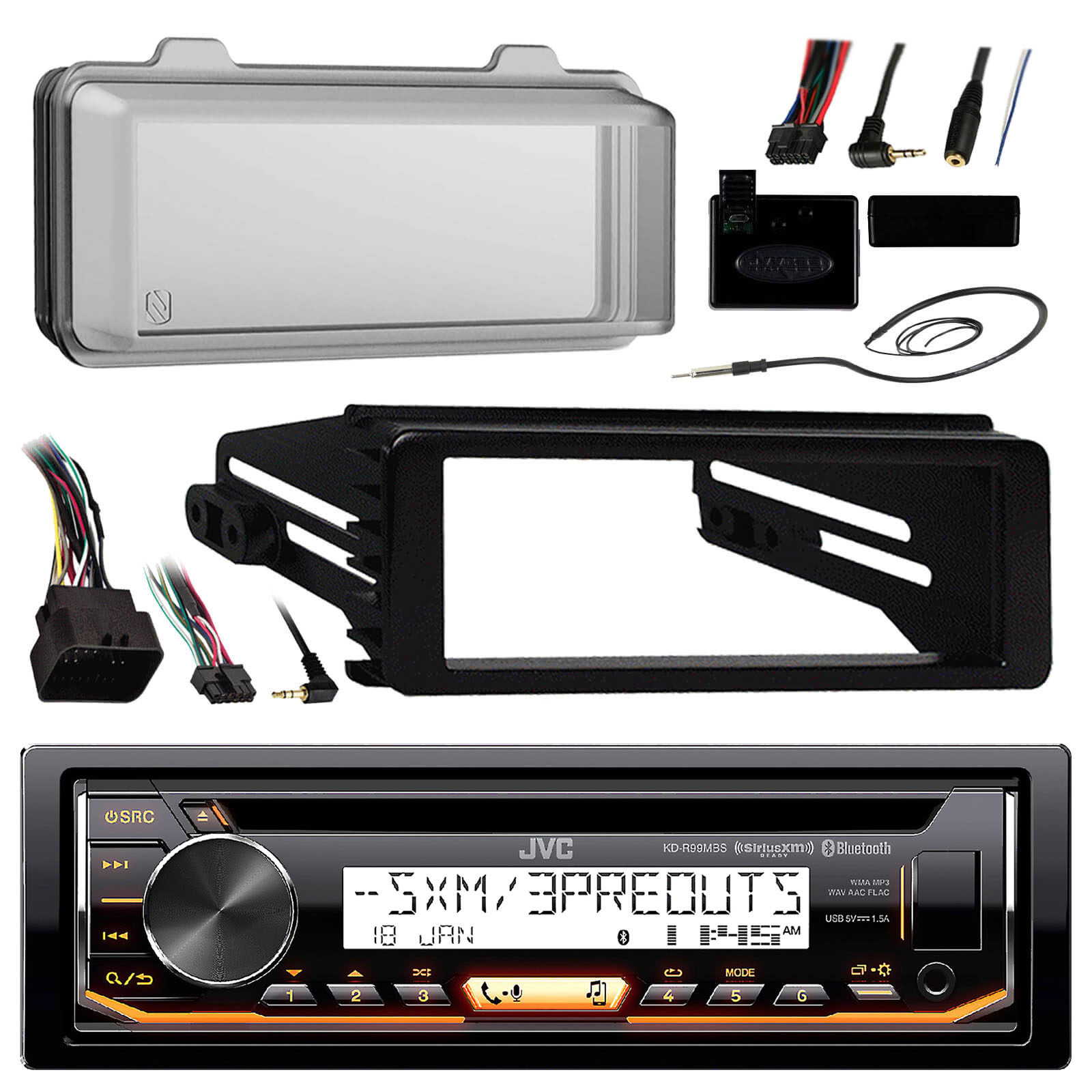 JVC KDR99MBS Marine Radio Stereo Receiver For 1998-2013 Harley Davidson Touring Flht Flhx Flhtc Bundle With Metra Adapter Dash Kit + Weathershield Cover + Handle Bar Control + Enrock Wire Antenna