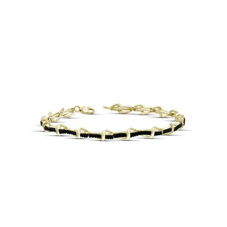 - Black Diamond Accent 14kt Gold over Silver Fashion Bracelet, 7.25