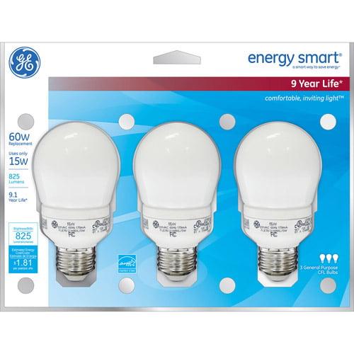 GE energy smart?? CFL 15 watt A19 3-pack