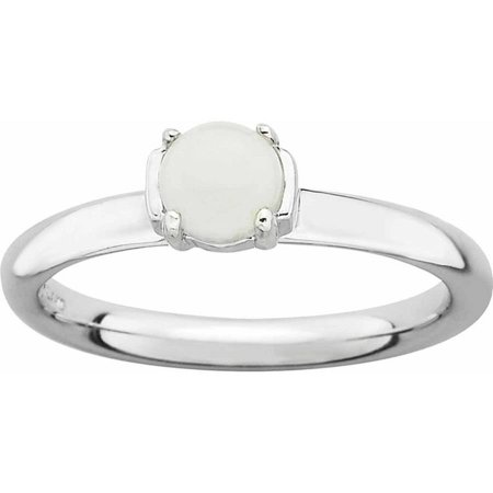 Sterling Silver Polished White Agate Ring ()