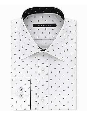 Sean John NEW White Mens Size 15 1/2 Logo Tailored Fit Dress Shirt