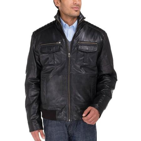 Black Washed Leather (Luciano Natazzi Men's Trim Fit Lambskin Leather Blast Washed Moto Jacket Black )
