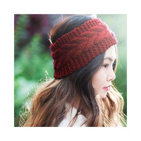 ef2f50195 Zodaca Women Headband Crochet Knit Knitted Girl Lady Fashion Head Warmer  Winter Warmth Headband Headwrap Hairband EarBand Stylish Headwear - Red