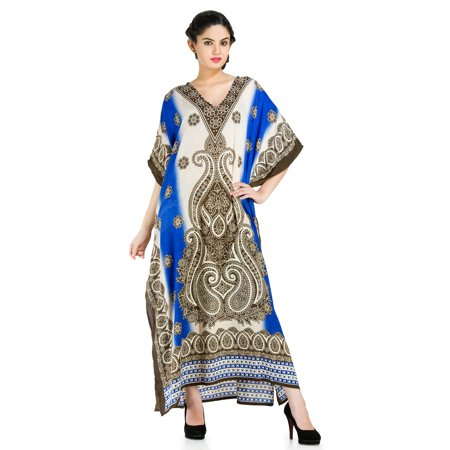 bb7cd8ea324 Goood Times - Blue and Khakhi Color Summer Beach Kaftan Dresses for Women  Paisley Print Maxi Cover Ups Plus Size Long Women s Caftans Dress by Goood  Times ...