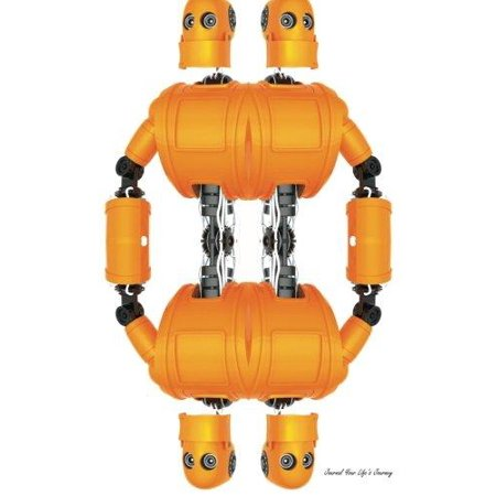 Journal Your Life's Journey: Standing Orange Robot, Lined Journal, 6 X 9, 100 Pages