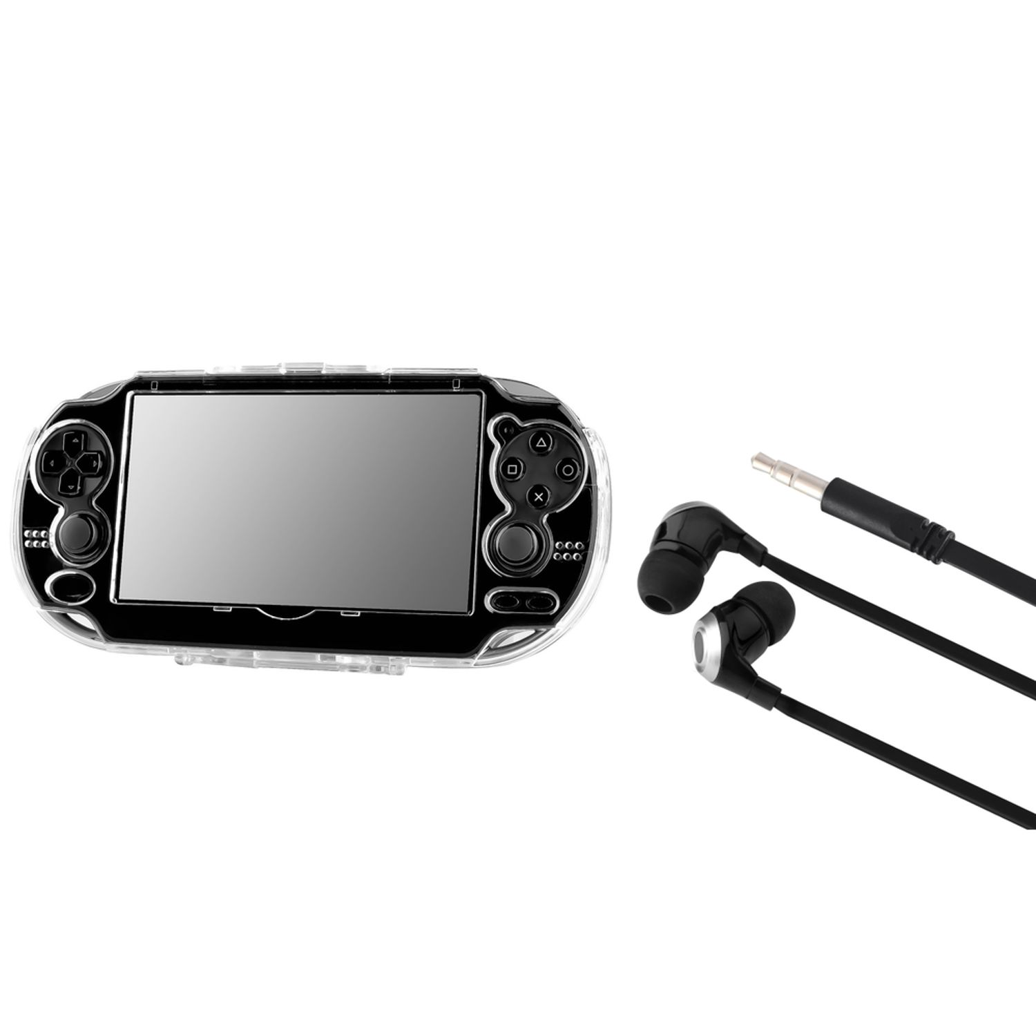Insten Crystal Clear Transparent Hard Case with Black 3.5mm universal In-ear Headset earphone for Sony PS vita