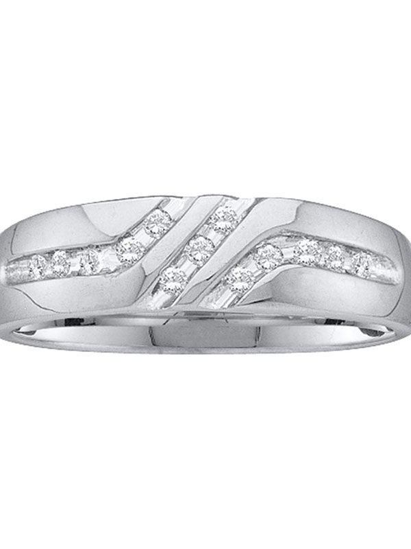 14kt White Gold Mens Round Diamond 5mm Wedding Anniversary Band Ring 1 8 Cttw by GND
