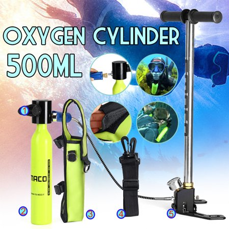 - 3PCS 500ml Mini Oxygen Diving Air Tanks Breathing Device Equipment Cylinder Regulator with Inflator Pump for Underwater Activities