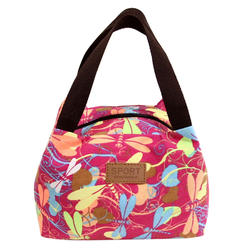 Canvas Lunch Bag,Coofit Fashionable Insulated Casual Travel Lunch Handbag Bag for School & Office