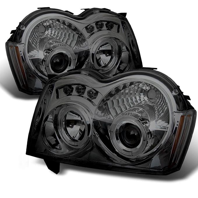 05-07 Jeep Grand Cherokee Smoke Dual Halo Projector LED Headlights LH RH Lamp by Artzone