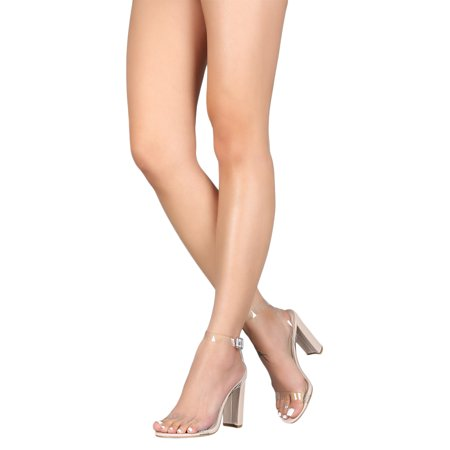 Women PVC Open Toe Ankle Strap Chunky Heel Sandal -