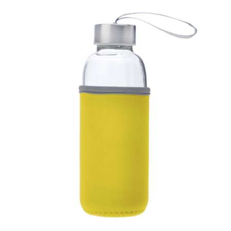 Aspire 5oz , 10oz , 14oz , 18oz Glass Water Bottle with Insulated Sleeve-Yellow-5oz](Yellow Water Bottle)