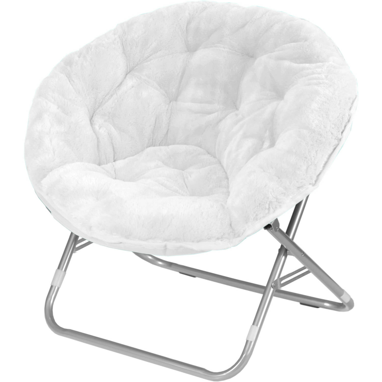 Mainstays Adult Faux Fur Saucer Chair White Walmart
