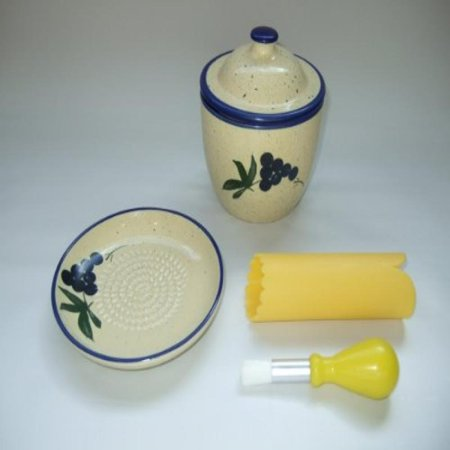 Cooks Innovations - Ceramic Grater Plate Set with Garlic Keeper - Beautiful Grape Design - Blue & Cream