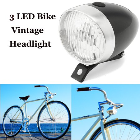 Retro Bicycle Bike 3 LED Front Light Headlight Vintage Flashlight Head Lamp  Light White MATCC US