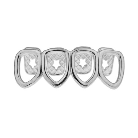 Four 4 Open Face Tooth Grillz Silver Tone Lower Row Bottom Teeth Hollow Hip Hop Grills