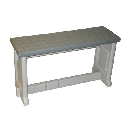New Leisure Accents 36 Long Outdoor Indoor Deck Resin Patio Bench Gray Beige