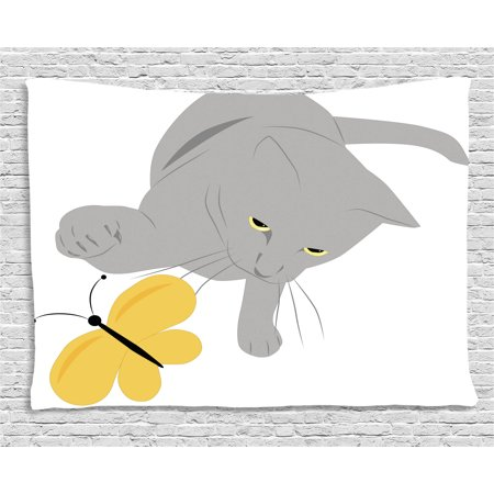 Butterfly Tapestry Wall Hanging - Grey and Yellow Tapestry, Cat Pet Feline Best Friend Playing with Spring Butterfly Print, Wall Hanging for Bedroom Living Room Dorm Decor, 60W X 40L Inches, Black Marigold and Grey, by Ambesonne