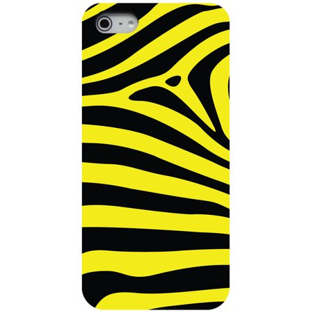 lowest price 9d238 109e3 CUSTOM Black Hard Plastic Snap-On Case for Apple iPhone 5 / 5S / SE - Black  Yellow Zebra Skin Stripes