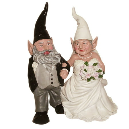 Homestyles Bride & Groom Wedding Gnome Married Couple Home & Garden Collectible Large Outdoor Statue 14