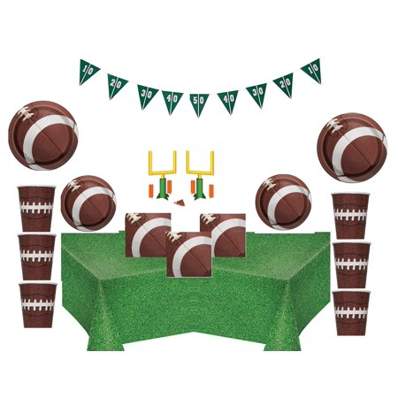 Football Deluxe Birthday Party Supplies for 16 Guests - Shipped Fedex Express