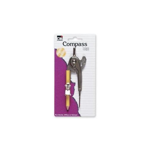CHARLES LEONARD INC Ball Bearing Compass,w/ Pencil/Centimeter Guide,Aluminum