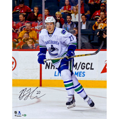 """Ben Hutton Vancouver Canucks Autographed 16"""" x 20"""" White Jersey Skating Photograph No Size by Fanatics Authentic"""