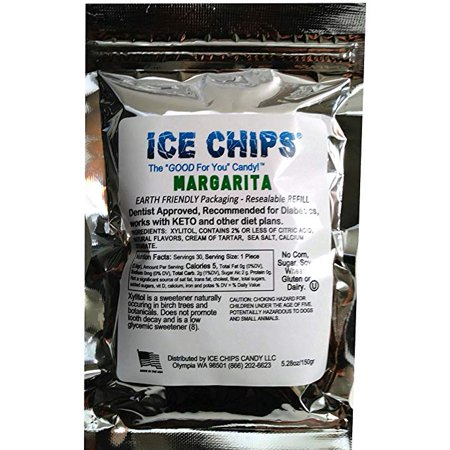 Low Carb Margarita (ICE CHIPS 100% Birchwood Xylitol Candy in Large 5.28 oz Resealable Pouch; Low Carb & Gluten Free (Margarita) )