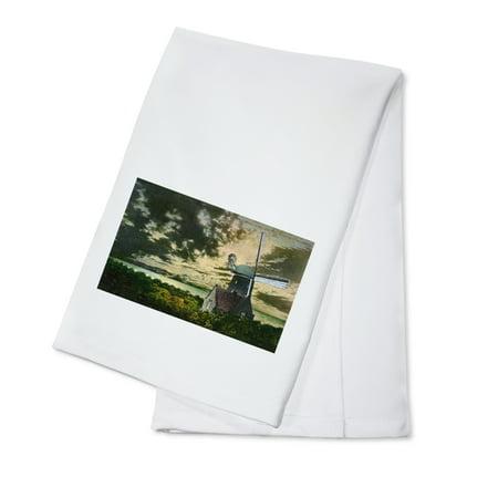 San Francisco, California - Golden Gate Park Windmill in the Moonlight (100% Cotton Kitchen Towel)