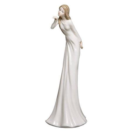 Graceful Porcelain - 12 Inch Porcelain Figurine Graceful Girl Sending a Kiss with Hand