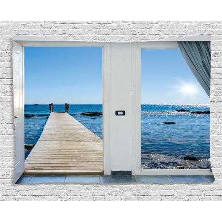 Beach Theme Decor Tapestry, Coastal Decor Ocean Sea Sunny Scenery with Patio from Window, Wall Hanging for Bedroom Living Room Dorm Decor, 80W X 60L Inches, Light Blue and White, by Ambesonne - Beach Themed Classroom