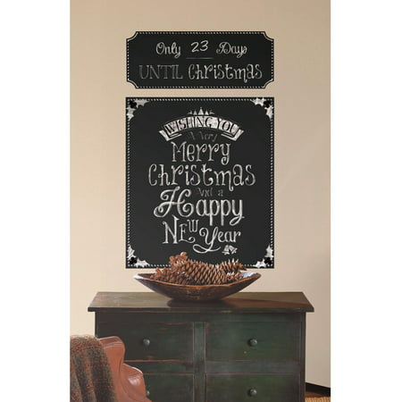 Christmas countdown chalkboard peel and stick wall decals for Peel and stick wallpaper walmart