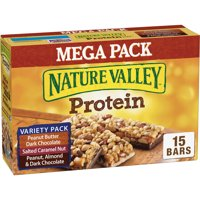 Nature Valley Peanut Butter Dark Chocolate Salted Caramel Nut Protein Chewy Granola Bars, 15 Ct