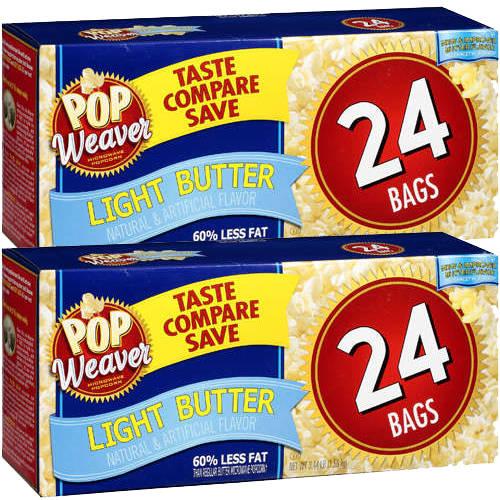 Pop Weaver Light Butter Microwave Popcorn, 24ct (Pack of 2)