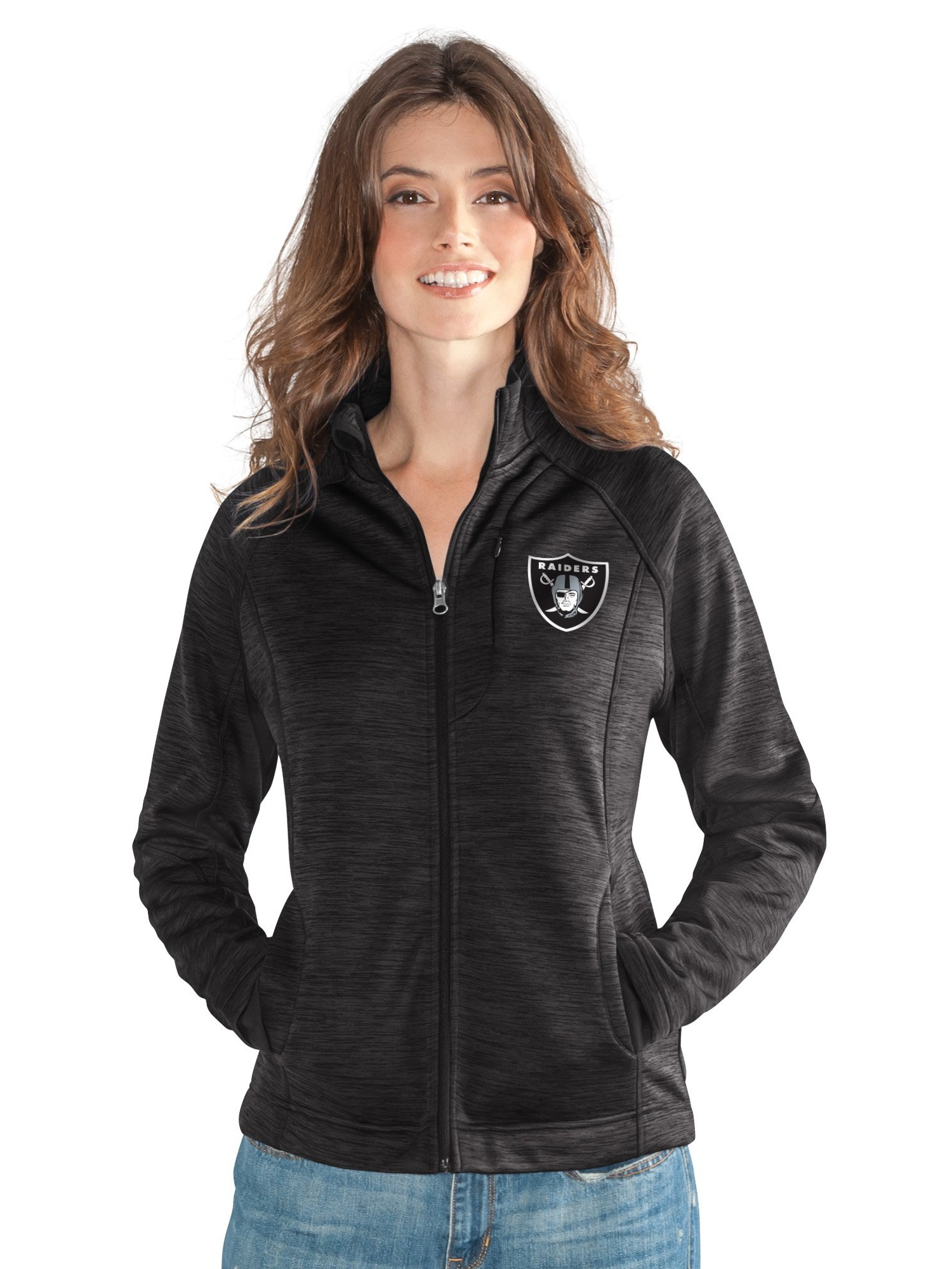 Oakland Raiders Women's Full Zip Heathered Black Track Jacket by G-III 4Her by Carl Banks