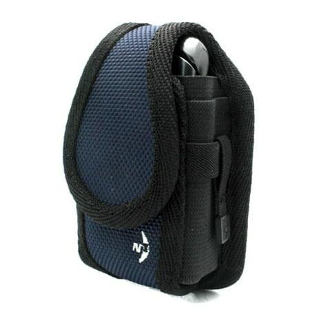 Authentic Blue Nite-Ize Cargo Case Rugged Canvas Cover Belt Clip Holster K4N for LG Exchange, Optimus Logic - Samsung Convoy 4, Galaxy Precedent (Lg Optimus Slider Cover)