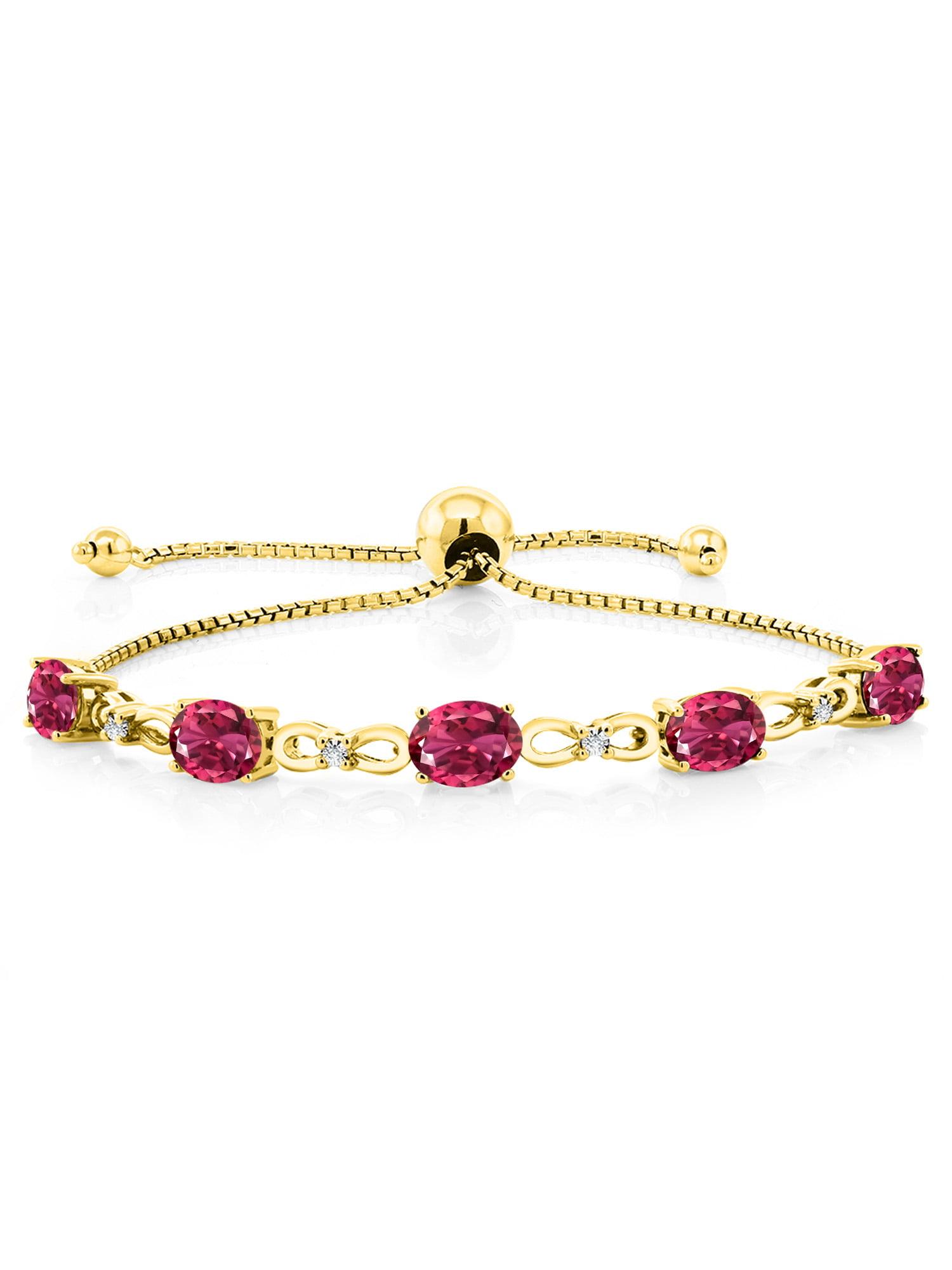3.50 Ct Oval Pink Tourmaline 18K Yellow Gold Plated Silver Diamond Bracelet by